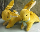 Pair Of Vintage Yellow Pink Glass Eye Stuffed Mohair Bunny Toy Decorations