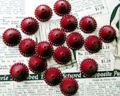 Vintage Fancy Deep Red Plastic Bead Caps 14pc