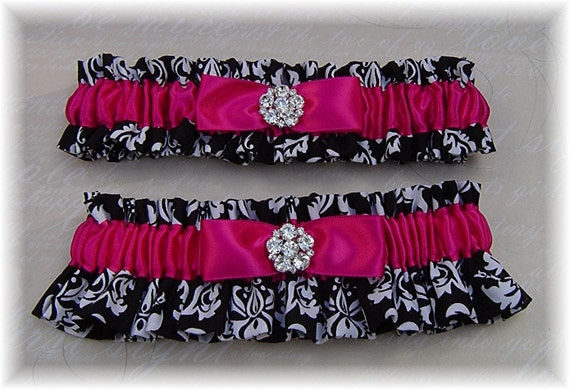 Watermelon Pink or Your Color with Black/White Damask Wedding Bridal Garter Set