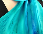 Aqua Blues and Greens Hand Painted Silk Scarf