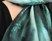 Silk Scarf  Hand Painted in Pine Green