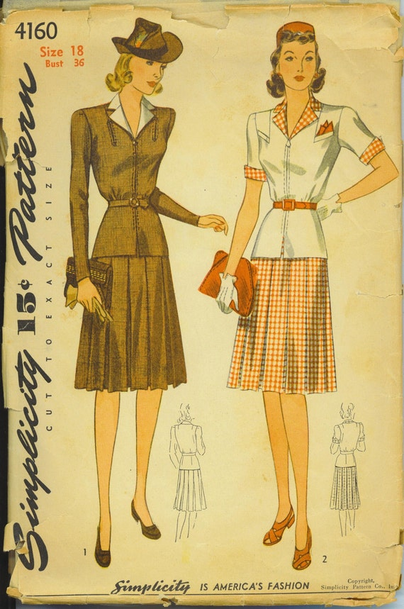 Vintage Jacket Dress with Pleated Skirt Simplicity Pattern - 4160  - 1940's