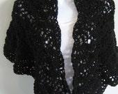Crocheted  Black Shawl, Wrap, Women's Accessories