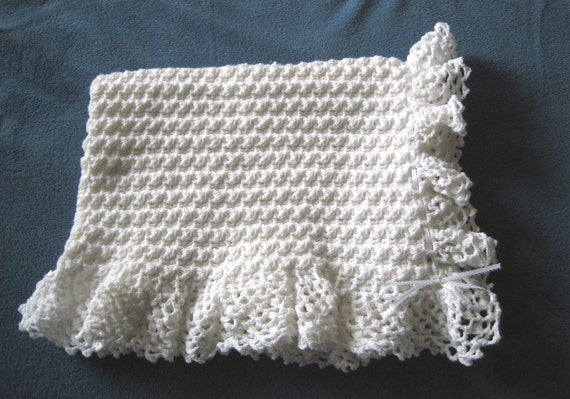 Crocheted White Baby Blanket with White Ribbon