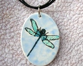 SALE .... Dragonfly Pendant in Clay With Free Necklace
