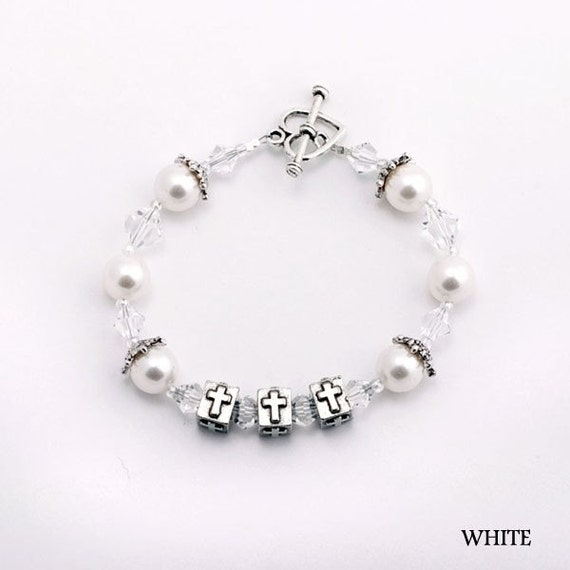Girl's First Holy Communion Bracelet: Cube Cross Charms with Crystals & Pearls (Children's Jewelry)