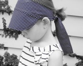 Adjustable sun hat - navy white polka dot - 1950s-style