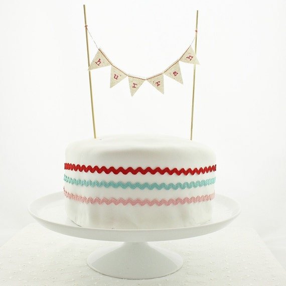 Cake bunting - personalized - mini fabric flags - red ink on calico