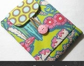 Kindle 3G / Kobo / Sony case padded with pocket in Amy Butler soul lime Kris Jr