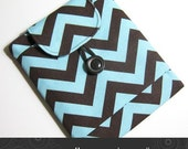 iPad Kindle DX case padded with pocket in brown chevron Kris