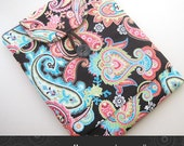 iPad Kindle DX case padded with pocket in chocolate paisley Kris