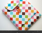 iPad case padded with pocket in fun argyle multicolour Kris