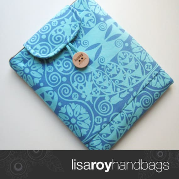 iPad case padded with pocket in Amy Butler soul blossoms blue Kris