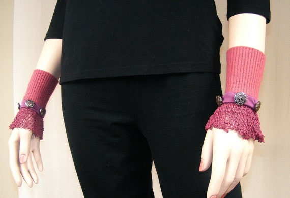 Wrist Warmers of Burgundy Lace - Free Shipping in US