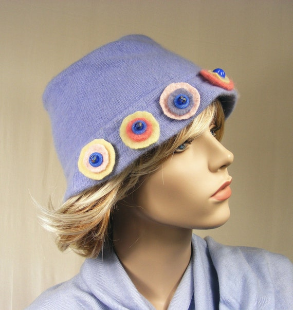 Light Blue Hat with Pink & Yellow Trim - Free Shipping in US