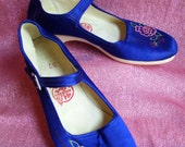 1950's 1960's Satin Cobalt Blue Mary Jane Shoes with Flower Embroidery Rockabilly Asian China Chinese Size 37 Sz 7 Dead Stock Never Worn New