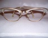 1950's 1960's Etched Aluminum Art Craft Cat Eye Glasses Sunglasses Frames