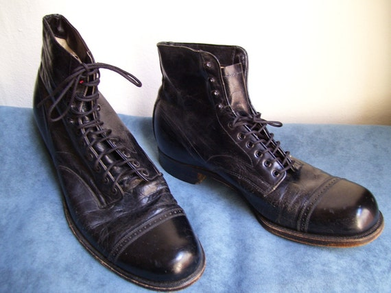 Incredible Men's Lace up 1920's 1930's Black Leather Boots Steampunk Charlie Chaplin