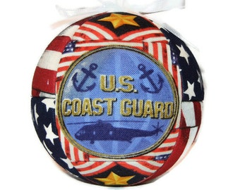 Coast Guard Patriotic Christmas Ornament Handmade Quilted Holiday Home Decor Military Ornament Tree Decoration by CraftCrazy4U on Etsy