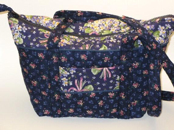 Spring OOAK Quilted Handbag Blue Pink Floral Tote Purse 7  Pockets Zipper Light Weight