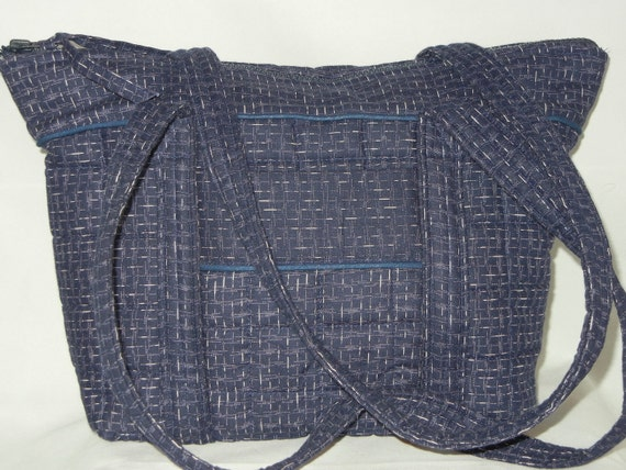 SALE...Quilted Handbag Tote Purse Mothers Day Gift Idea 7 Pockets Heavy Duty Zipper  Blue OOAK