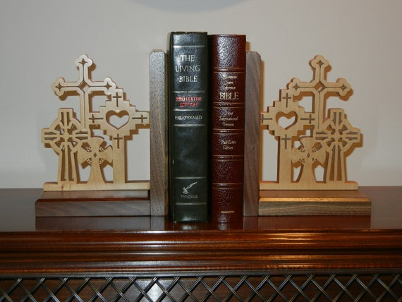 Walnut and Maple Bookends Fretwork Biblical Crosses Handmade Wood