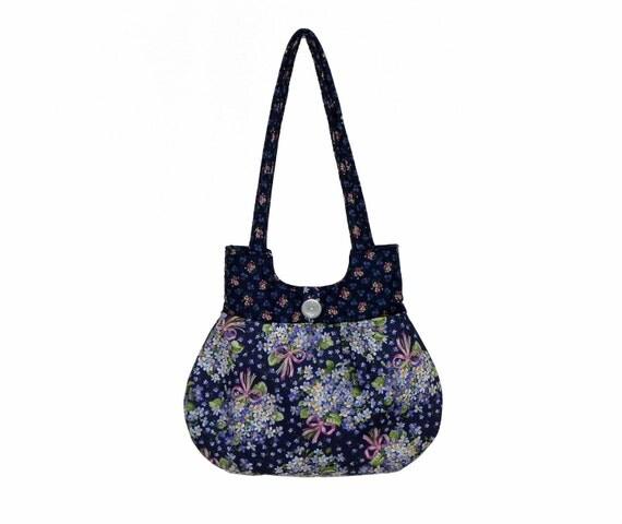 Cancer Awareness Handbag Navy Blue Pink Floral Handmade Purse Classy Curvy Everyday Bag Christmas Holiday Gift