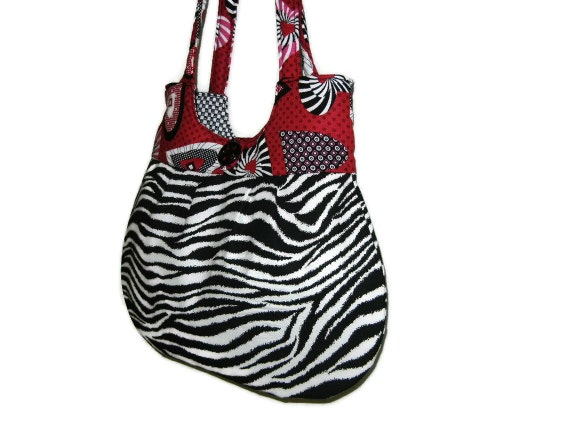 Zebra Stripe Print Autumn Fall Everyday Bag Black and White with Red Pink Hearts Classy Curvy Tote Purse