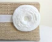Bridal Clutch or Bridesmaid Clutch - Tan Woven Clutch / White Satin Ribbon / Handmade White Flower