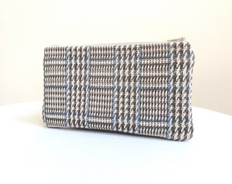 Houndstooth Plaid Clutch - Tan, Grey and Blue - READY TO SHIP
