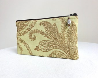 Lime Green Brown Clutch / Zippered Bag with Beaded Pull - READY TO SHIP