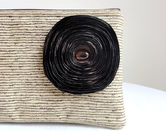 Rustic Stripe Clutch / Khaki - Handmade Brown Satin Flower - READY TO SHIP