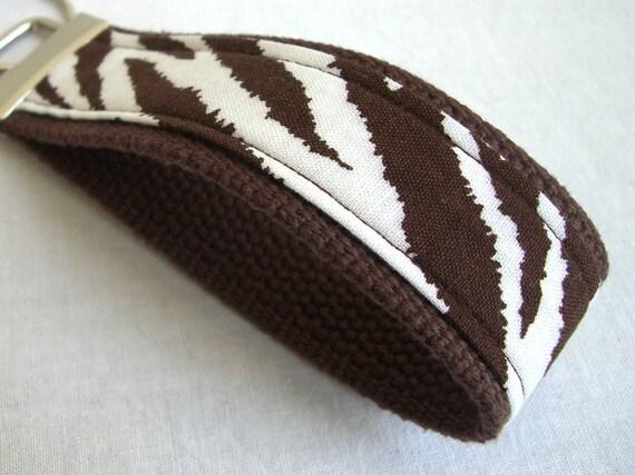 Wristlet Key Fob - Brown Zebra Print - READY TO SHIP