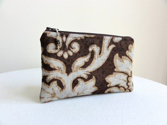 Chocolate and Blue Scroll Clutch / Zippered Bag with Beaded Pull