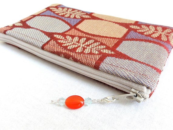 Small Zippered Bag in Cherry Red with Beaded Zipper Pull