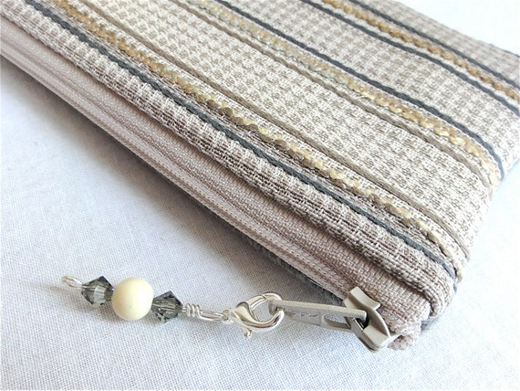 Grey Tan Striped Cosmetic Bag / Zippered Bag