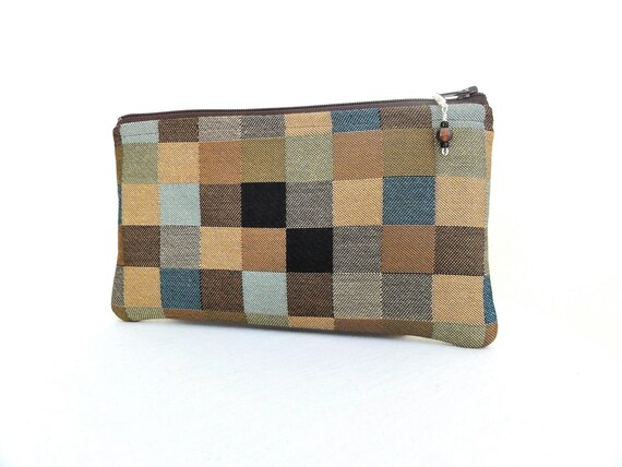 Geometric Square Zippered Bag in Brown, Khaki and Black with Beaded Zipper Pull