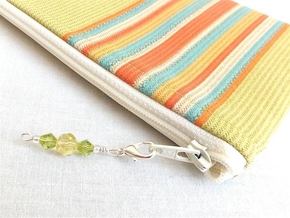 Cosmetic Bag / Zippered Bag - Lime, Orange & Aqua Stripe - READY TO SHIP