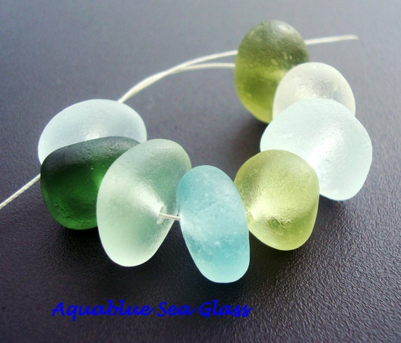 8  Big  Center Drilled Sea Glass From  England  Multiple Colors   (521)