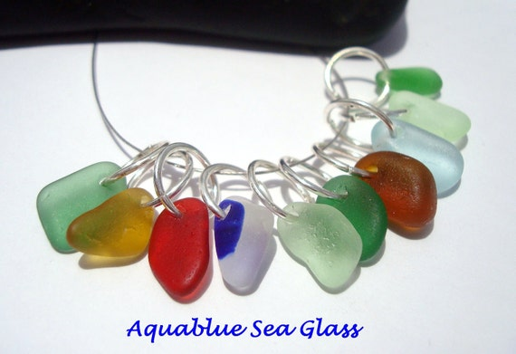 10 Sea Glass Small  Top Drilled English  Sea Glass Charms 1 multi,  Cobalt   Red, Golden Yellow  (610)