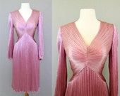 1950s Dress: Cocktail Party, Evening - Pink Rose Crepe - HOLLYWOOD GLAMOUR