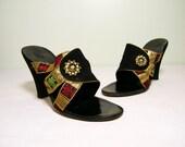 R E S E R V E D - ON HOLD - Vintage 1950s Shoes:  50s Asian Inspired Rhinestone Dance Sandals