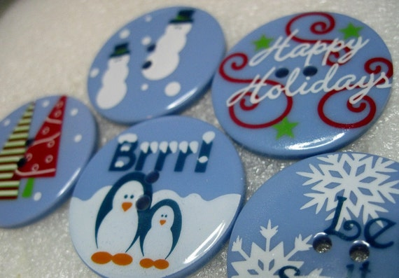 Melissa Large Holiday Winter Theme Buttons Scrapbooking, Sewing, Craft, Embellishments and more