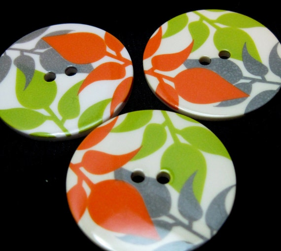 Lot of 3 Flower Leaf  Design Large Buttons 1 3/8 inches