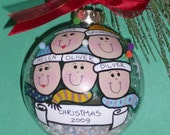 Handpainted 5 Person Christmas Ball Ornament - Personalized