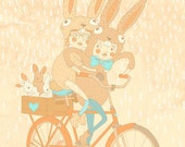 Bunnysuits and Bicycles A3 Print