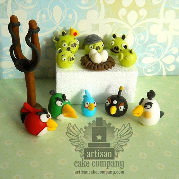 Edible angry birds toppers medium set by artisancakecompany for Angry birds cake decoration kit