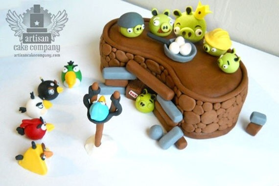 Angry Birds Cake Topper without Bunker