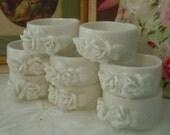 Set of 8 Vintage WHITE ROSES Porcelain Napking Ring Holders