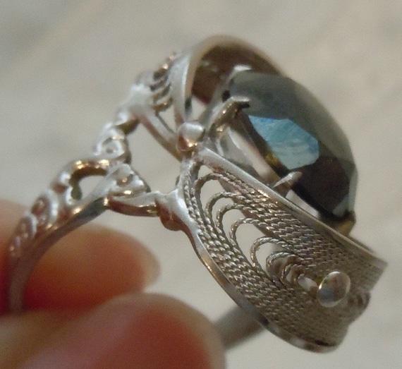 Antique Sterling SILVER Uncas Mfg. Hematite Filgree Ring - FREE SHIPPING